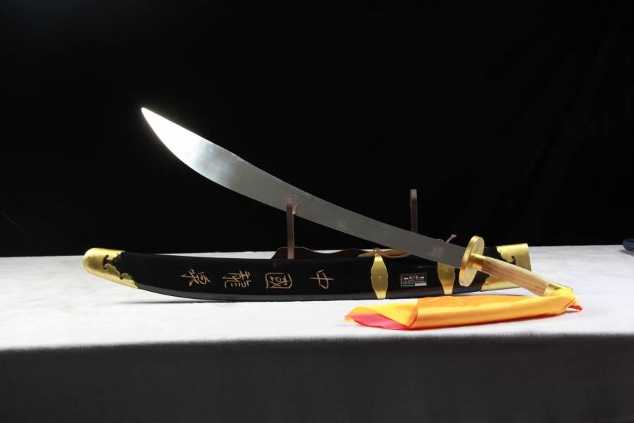 沈廣隆漆木太極單刀 沈廣隆,漆木太極單刀,碳鋼製,中階學習者,鍛練力量。