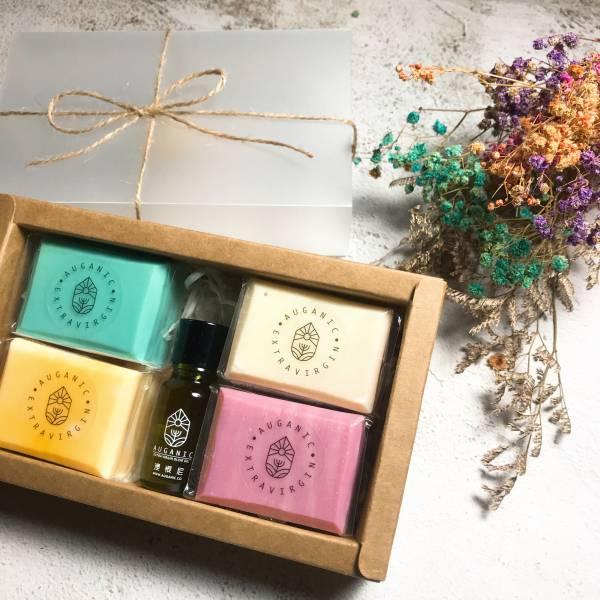 澳根尼橄欖手工皂禮盒組(4種款式+10ml橄欖油*1) 純橄欖,100%原汁,手工皂,澳根尼手工,香皂,特級冷壓橄欖皂,橄欖皂,肥皂,勤洗手