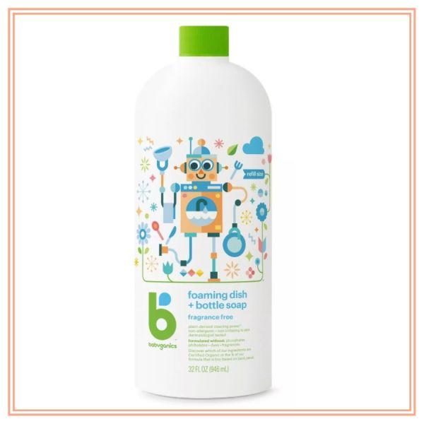 Babyganics Dish & Bottle Soap Refill, Fragrance Free - 32oz--『Procurement』