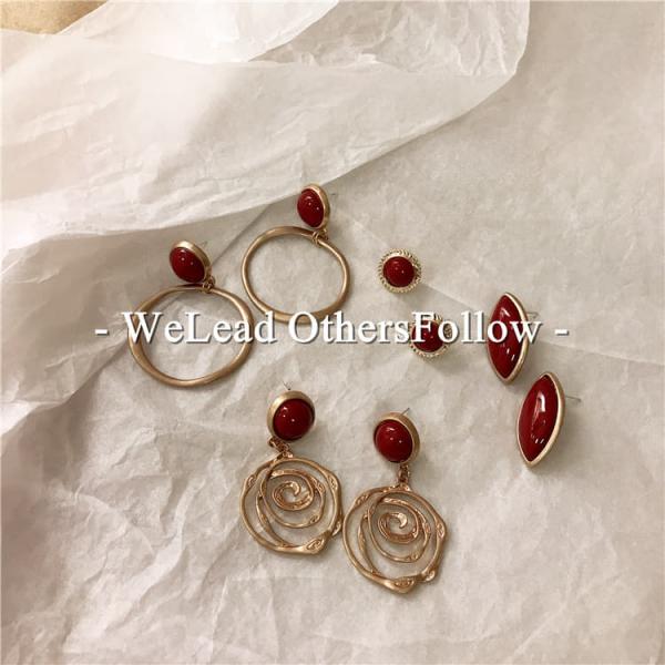 韓國東大門同款耳環復古韓版紅色做舊長款耳環