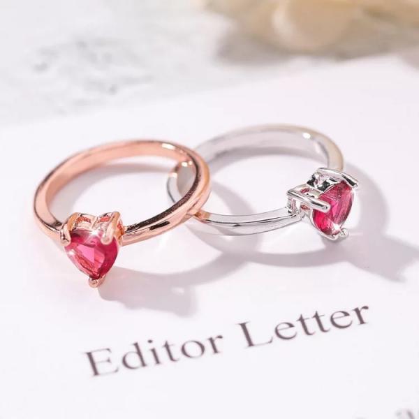 [韓國] 小清新玫紅鑽愛心紅心戒指優雅簡約小巧愛心鋯石指環網紅尾戒