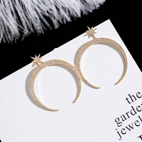 歐美專櫃OWE's 925銀針 - 狼牙灣月星星霸氣耳環
