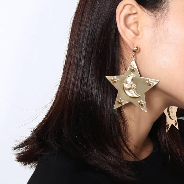 [歐美] 彎月環星歐美潮流質感耳環