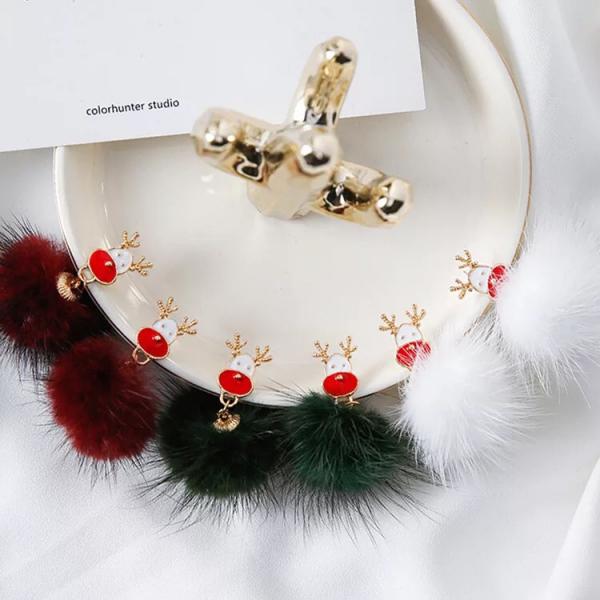 [韓國] 韓版聖誕節長款毛球耳環 可愛清新聖誕樹麋鹿水貂毛耳飾耳墜女
