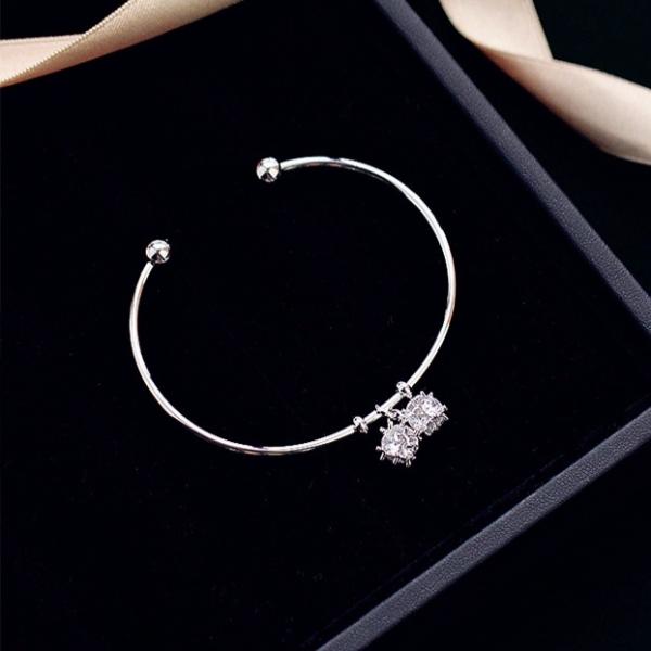 [韓國] 鍍18K真金-莉亞女神閃亮之星手環 (極美) LadyA,鍍18K金,鋯石,優雅,氣質,開口活動手環