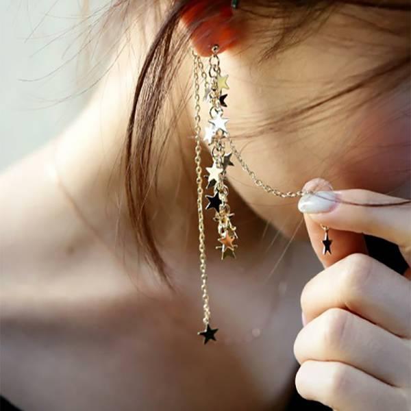[日本] 高質感極美串星耳環 (雜誌同款) LadyA,性感,耳環,飾品,大方,個性,優雅,耳環,時髦,休閒,韓風,低敏,簡約,日系耳環,日本耳環,垂墜式耳環,星星,合金耳環,星星耳環