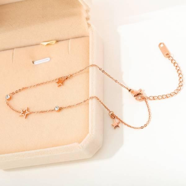 【韓國】沙灘晨戀之星腳鏈-鈦鋼18K鍍玫瑰金(保證不褪色)