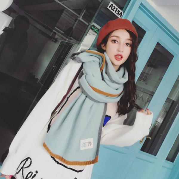 2019暖春新款 - 韓國最新針織圍巾拚色款