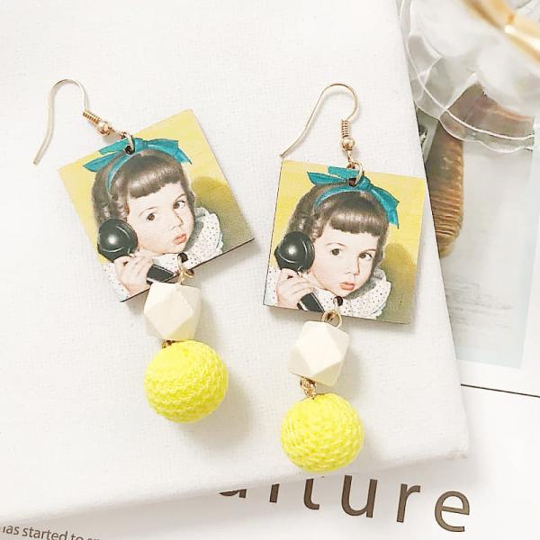 限量 | 韓國新款甜美可愛小女孩木質絨球毛球耳環長款流蘇