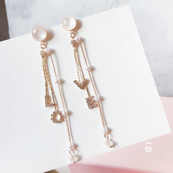 [韓國] 鋯石鑲嵌 - LOVE垂墜耳環