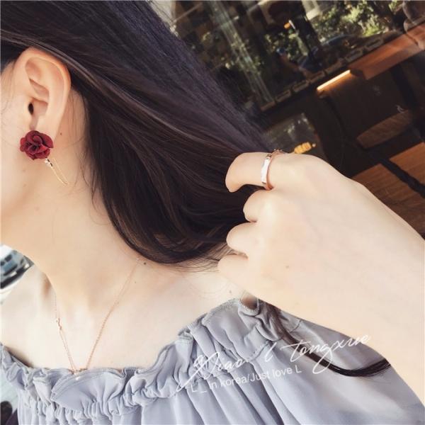 [韓國] 最美的冬日玫瑰 (女人必備) LadyA,韓國,玫瑰,臧芮軒,優雅,貼耳耳環,鋯石,耳環