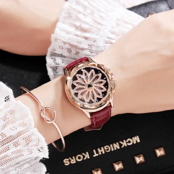 [瑞士] Mashali瑪莎莉 - 時來運轉錶盤.真皮錶帶手錶 LadyA 飾物女王,LadyA,飾品,真皮手錶,生活防水,360度旋轉,花手錶,日常必備,日常,可愛,優雅,耳環,時髦,休閒,文青,手錶,金框手錶,時來運轉,Mashali,瑪莎莉