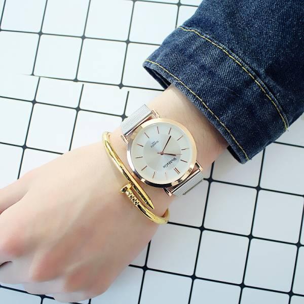 [韓國]女款手錶初中學生韓版簡約鏈防水小清新歐美時尚超薄氣質女生女錶