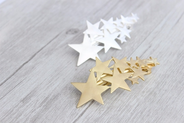 [日本] 一束磨砂金/銀流星髮夾 LadyA,日本,磨砂金銀,流星,可愛,髮夾