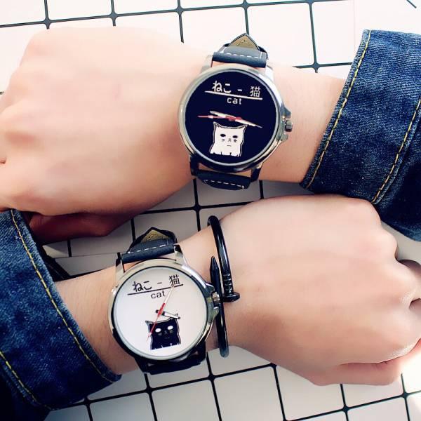 [韓國]可愛卡通小貓文字控皮帶情侶潮學生日系軟妹原宿時尚黑白手錶