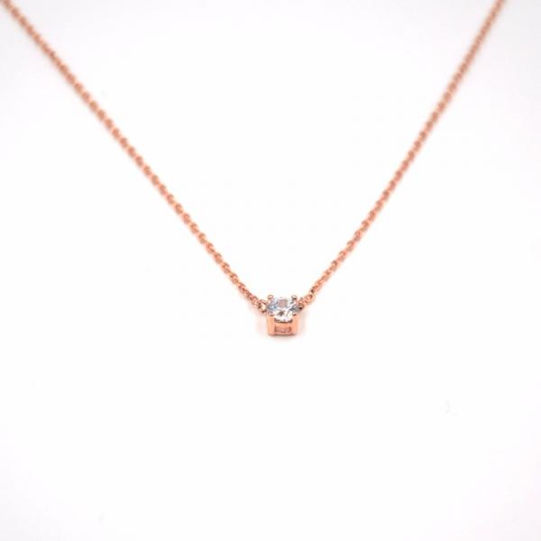 925純銀 - 單鑽項鍊 (玫瑰金)