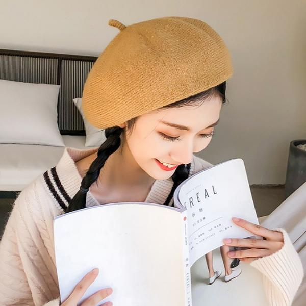 [韓國] 秋冬新款羊絨加密針織畫家帽韓風英倫時尚純色百搭文藝貝雷帽子女