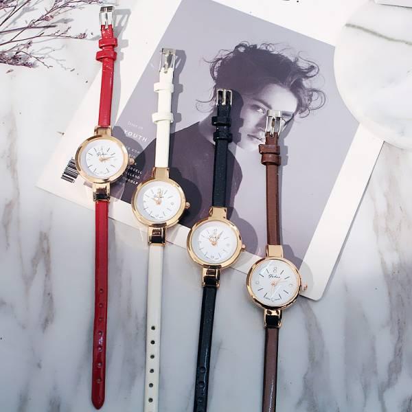 [韓國]yuhao復古圓形小錶盤女款手錶女士學生錶韓國細錶細皮帶女錶腕錶