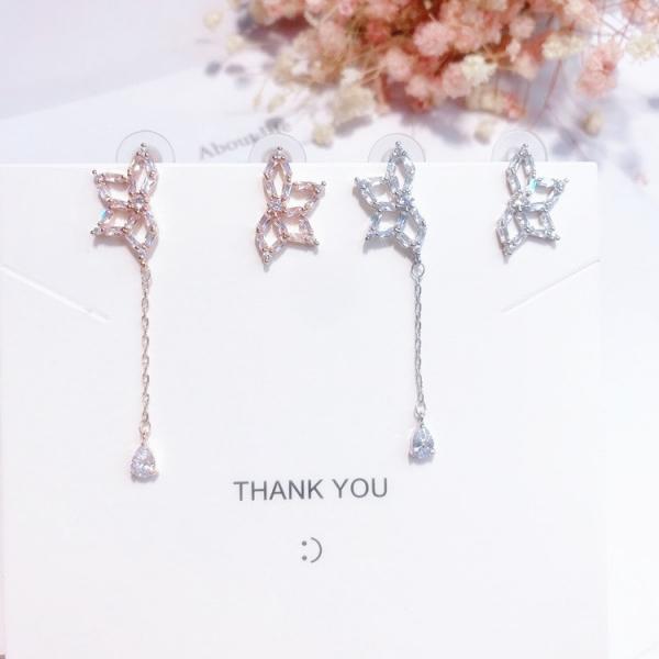 [韓國] 925銀針 - 唯美花嫁氣質鋯石左右不對稱耳環