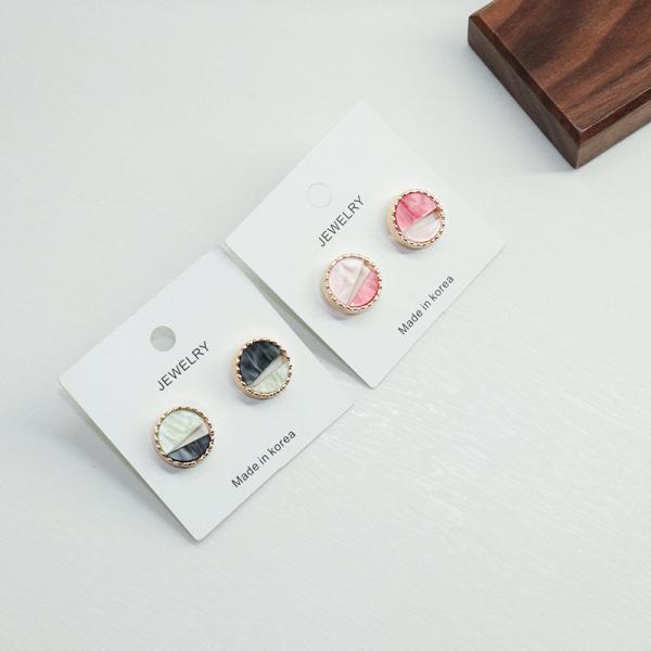 [韓國] 925銀針 - 幾何渲染雲彩耳環