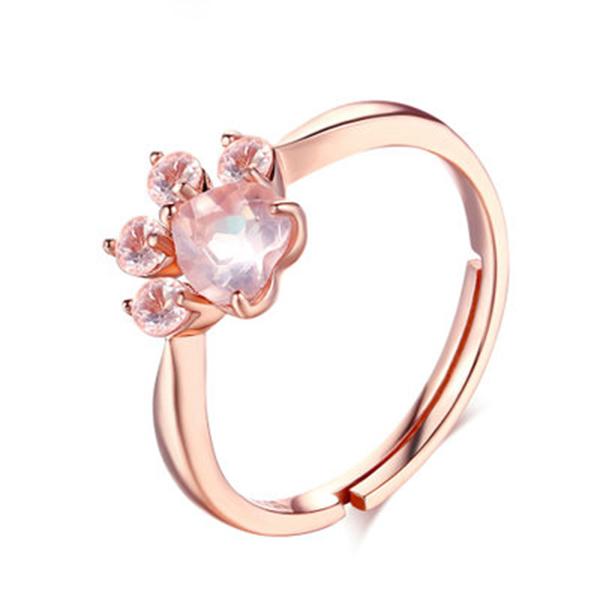 奧黛兒 - 真天然粉晶貓爪寶石戒指 - 925純銀 -  (開口戒)