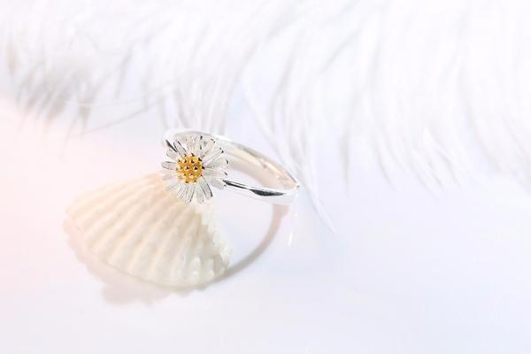 [韓國] 925純銀-清新小雛菊戒指 雛菊戒指,花朵戒指,花戒指,LadyA,可愛,優雅,時髦,休閒,韓風,簡約