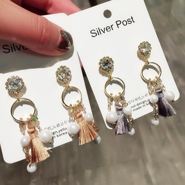 [韓國] 925銀針-小米可人流蘇鑽耳環 LadyA,耳環,飾品,優雅,可愛耳環,甜美,流蘇,流蘇耳環,有鑽耳環,唯美,清甜