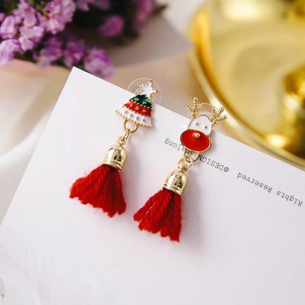 [韓國] 時尚聖誕節 小鹿聖誕老人雪花流蘇鑽飾星星毛綫耳釘/耳環
