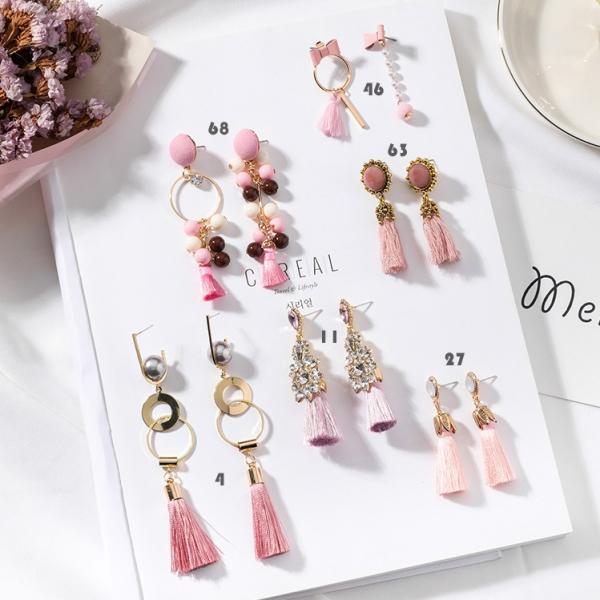 [韓國] 公主芭蕾粉皇家流蘇耳環