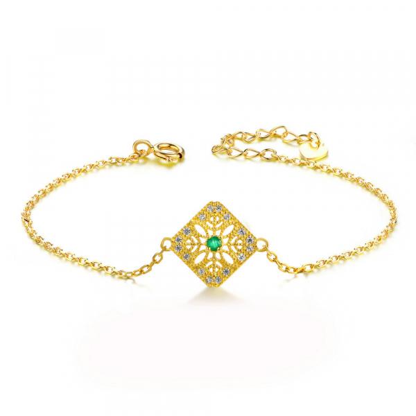 奧黛兒 - 祖母綠寶石宮廷氣質手鏈手環 (925純銀)