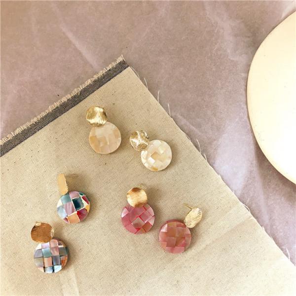 限量|韓國東大門代購 - 繽紛鈕扣彩石耳環(925銀針)