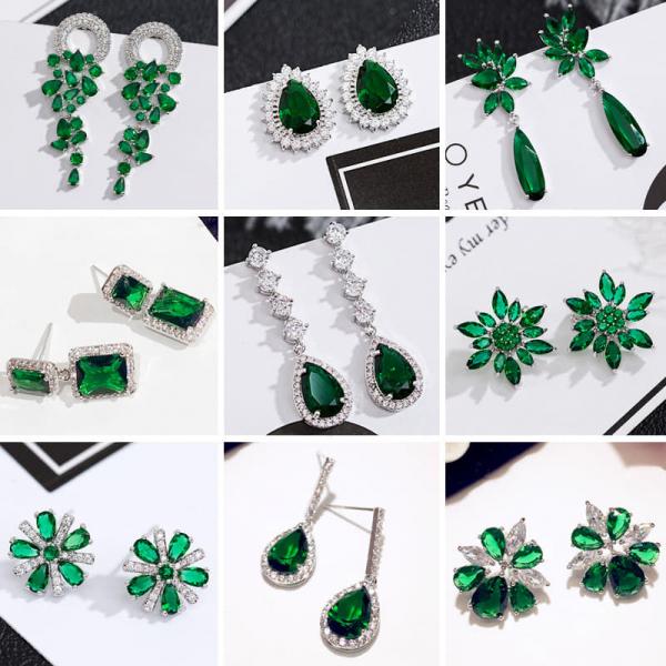 限量|歐美復古輕奢祖母綠水晶鋯石耳環(925銀針)