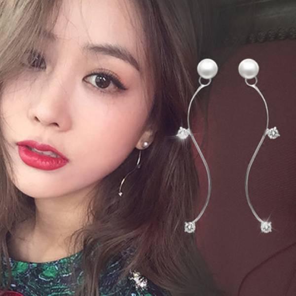 金秘書珍珠S小鑽耳環
