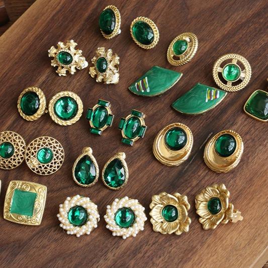 [美國] 復古祖母綠系列耳環 (耳夾)