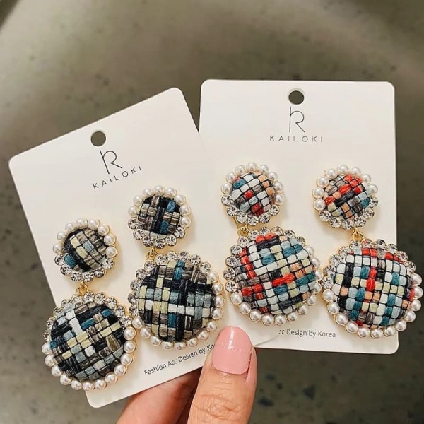 限量 | 韓國東大門秋冬新款撞色格子鈕扣圓形氣質甜美耳環