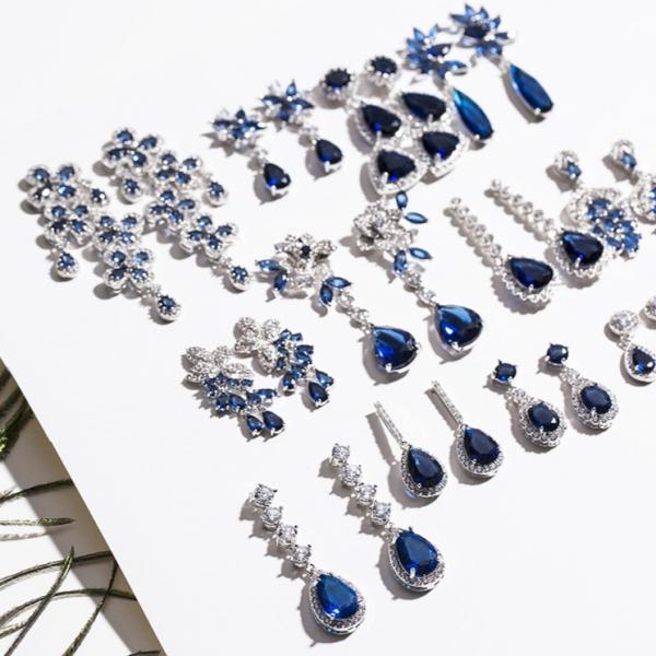 晚宴輕奢款 - 白金電鍍 - 鋯鑽藍寶石·經典優雅系列耳環