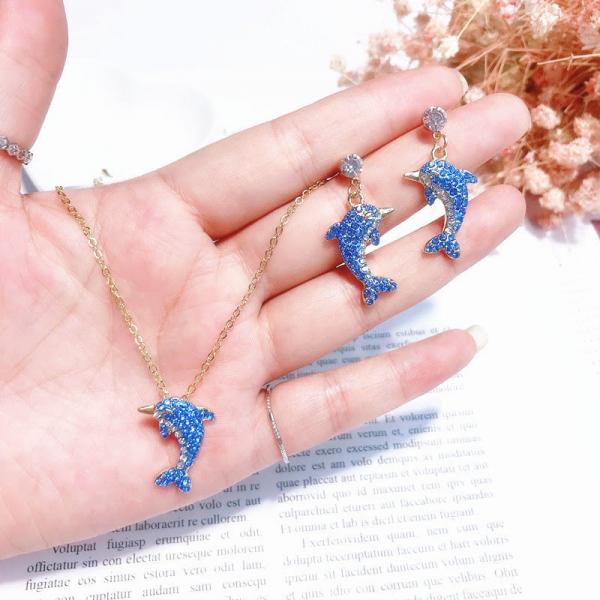 [韓國]海豚藍色套裝耳釘項鏈少女心ins耳釘韓國個性精緻耳環耳墜
