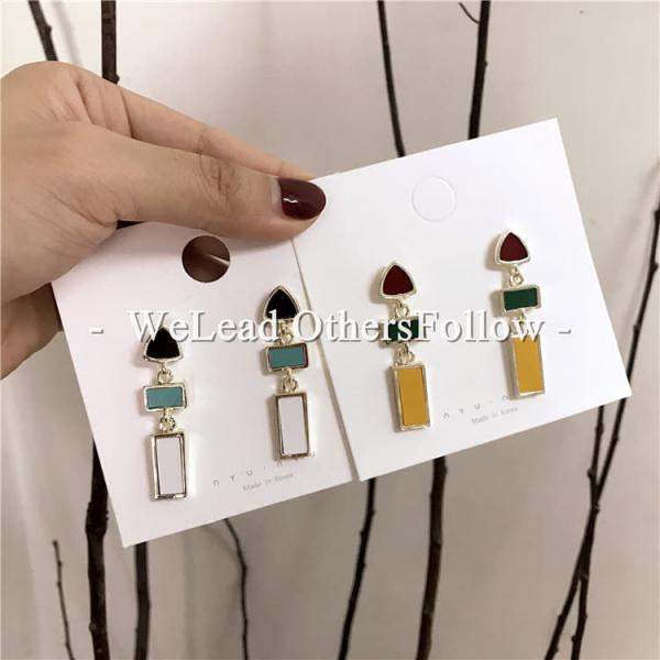 限量 | 韓國幾何滴油銀針百搭耳環