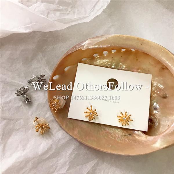 限量 | 韓國風耳環復古長款珍珠花朵個性耳針