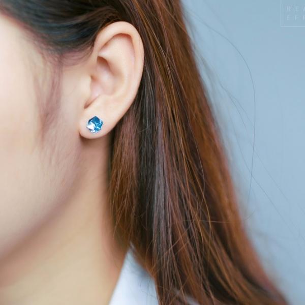 925純銀-奧地利方晶小巧耳環 LadyA,925銀針耳環,可愛,優雅,時髦,休閒,韓風,韓國,抗敏耳針,方型耳環,奧地利,方晶耳歡