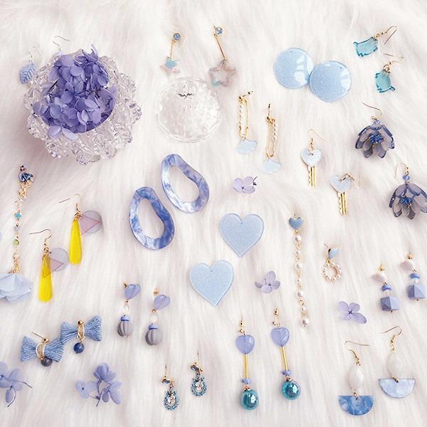 『藍天的藍白雲的白』夢幻系列 LadyA,飾品,耳環,藍天,藍,合金耳針,個性,優雅,耳環,時髦,休閒,垂墜耳環,圓圈耳環,圈型耳環,圓珠耳環,圓耳環,愛心,花,