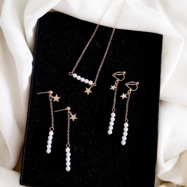 氣質珍珠串珠耳環項鍊組