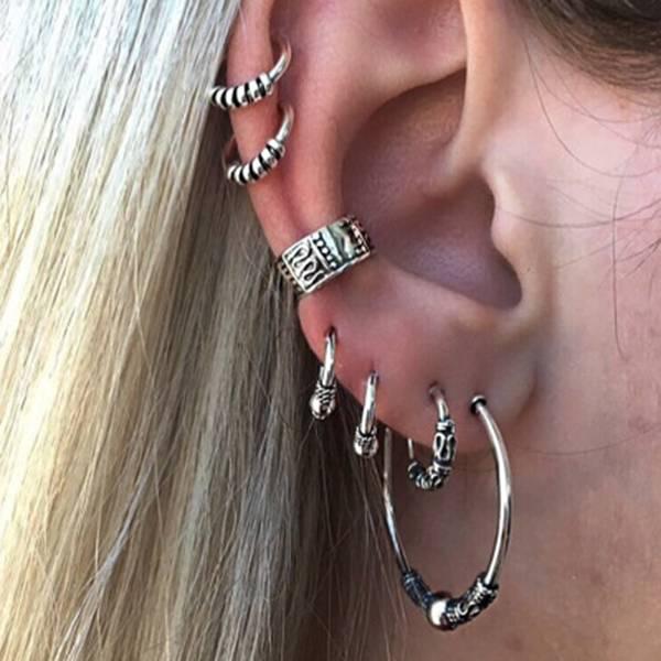 [歐美] 戰神卡爾迪亞 - 個性圖騰環耳環耳骨針 (7件套組)
