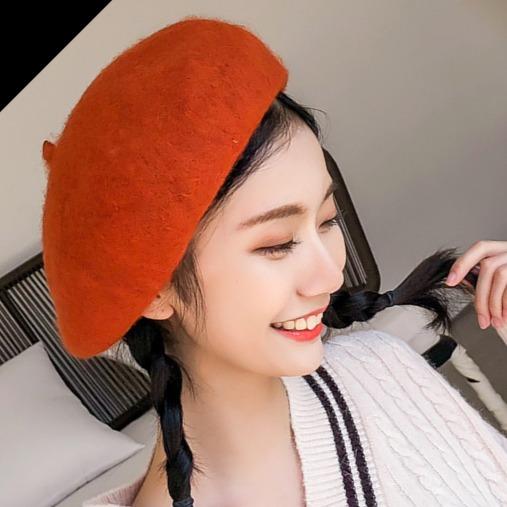 [韓國] 秋冬百搭暖羊羊氣質貝蕾/畫家帽