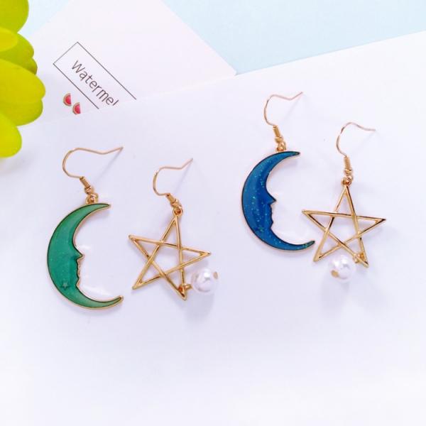 星空下的願望 不對稱耳環耳夾