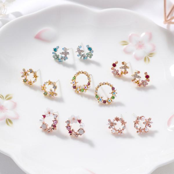 [韓國] 925銀針 - 心花朵朵開系列耳環