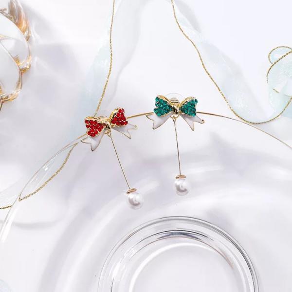 [韓國] 925銀針聖誕鑲彩鑽蝴蝶結珍珠耳環氣質長款流蘇後挂式耳釘節日女