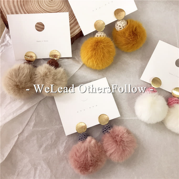 限量 | 韓國東大門設計毛線兔毛球耳環
