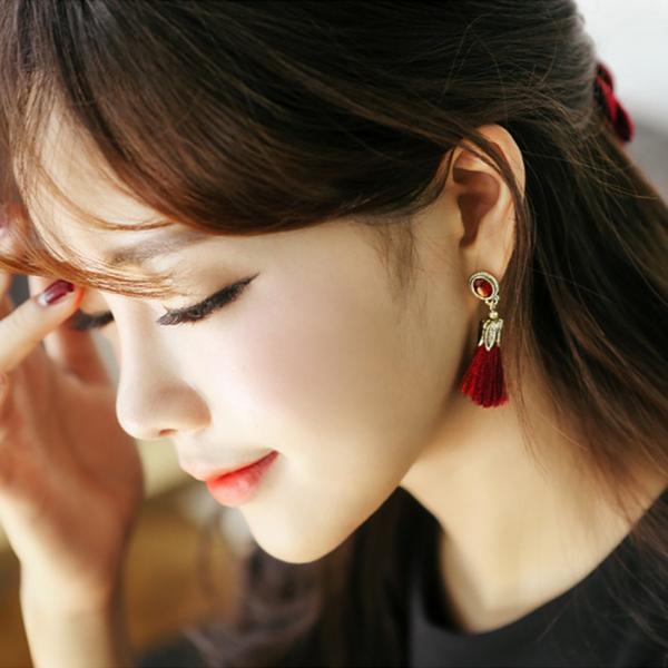 [韓國] 唯美復古寶石風流蘇耳環