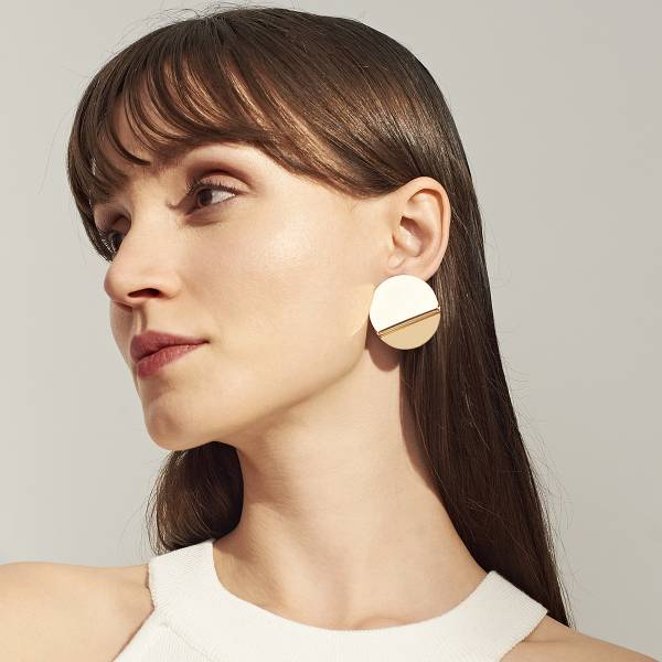 [歐美] 滿是蜿蜒後.不見得筆直 - 個性歐美素面亮金屬圓片耳環